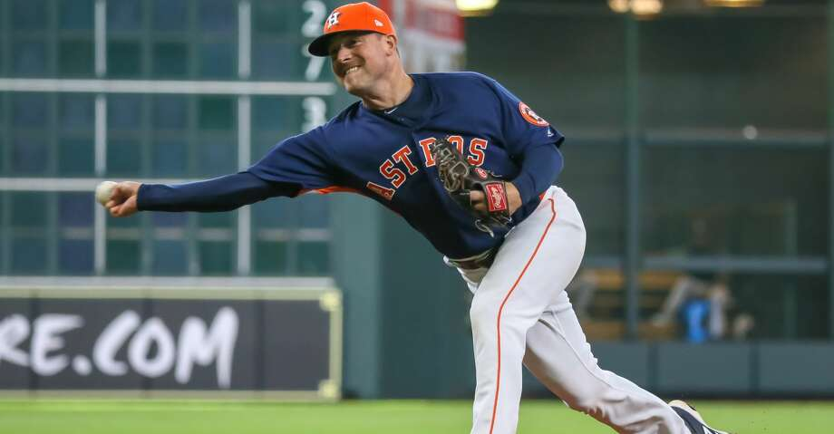 HOUSTON, TX - APRIL 29:  Houston Astros relief pitcher Joe Smith (38) takes over the mound in the top of the ninth inning during the baseball game between the Oakland Athletics and Houston Astros on April 29, 2018 at Minute Maid Park in Houston, Texas.  (Photo by Leslie Plaza Johnson/Icon Sportswire via Getty Images) Photo: Icon Sportswire/Icon Sportswire Via Getty Images