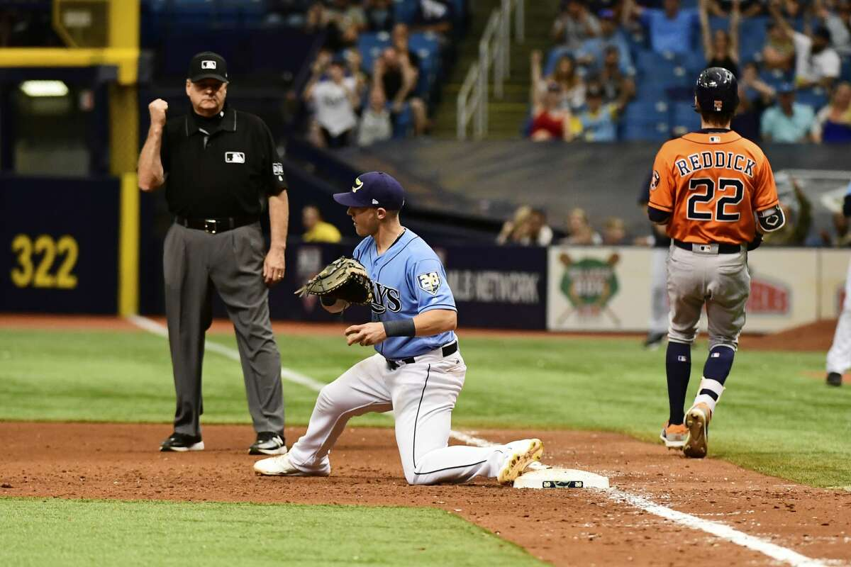 ST PETERSBURG, FL - JULY 1: Jake Bauers #9 of the Tampa Bay Rays gets a double play in the ninth inning against the Houston Astros on July 1, 2018 at Tropicana Field in St Petersburg, Florida. (Photo by Julio Aguilar/Getty Images)