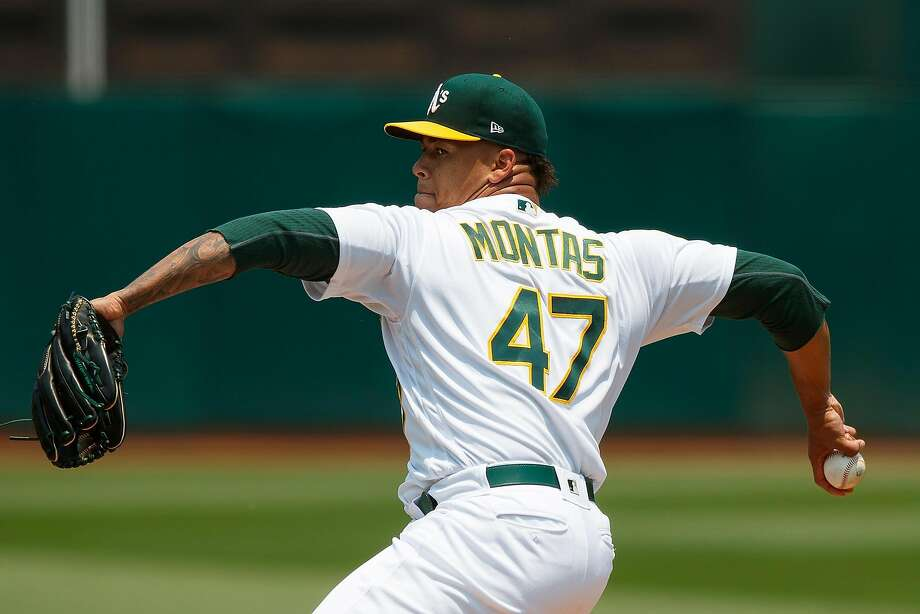 OAKLAND, CA - JULY 01:  Frankie Montas #47 of the Oakland Athletics pitches against the Cleveland Indians during the first inning at the Oakland Coliseum on July 1, 2018 in Oakland, California. (Photo by Jason O. Watson/Getty Images) Photo: Jason O. Watson / Getty Images