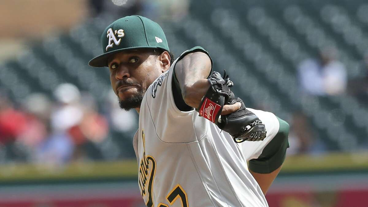 Oakland Athletics starting pitcher Edwin Jackson throws during the sixth inning of a baseball game against the Detroit Tigers Monday, June 25, 2018, in Detroit. (AP Photo/Carlos Osorio)
