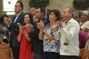 From left, former Secretary of Housing and Urban Development under President Bill Clinton, Henry Cisneros, his wife and former San Antonio City Council member Mary Alice Cisneros, U.S. Congressman Joaquin Castro, Sonia Rodriguez and her husband, United Farm Workers of American President Arturo Rodriguez, attend a Mass in honor of American labor leader and civil rights activist Cesar Chavez, at San Fernando Cathedral, Sunday, July 1, 2018. San Antonio Archbishop Gustavo Garcia-Siller offered a prayer for migrants and refugees was offered at the end of the service.