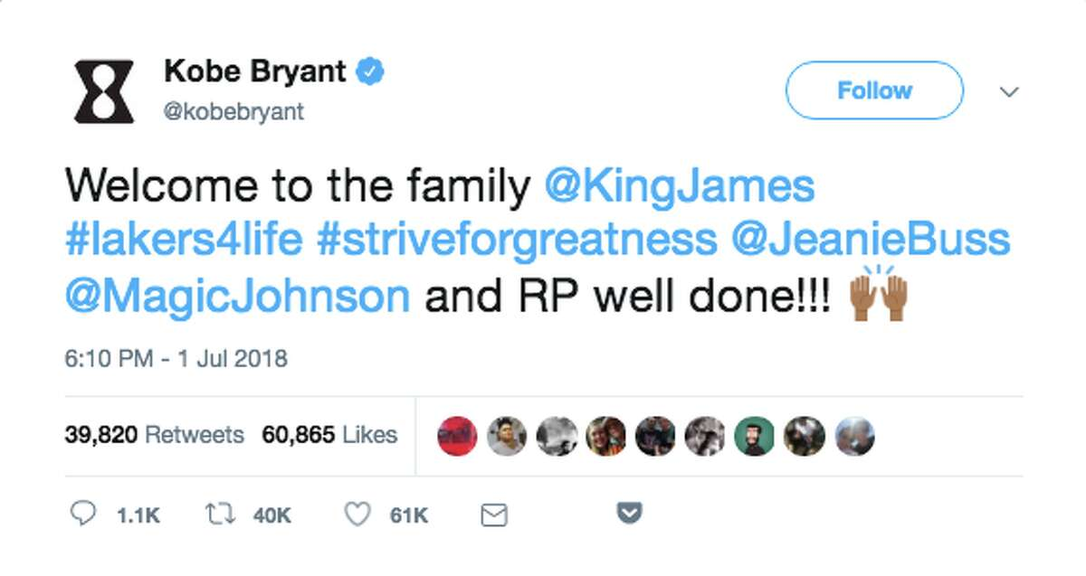 Sports figures and fans react to the news that LeBron James signed a four-year contract with the Los Angeles Lakers.