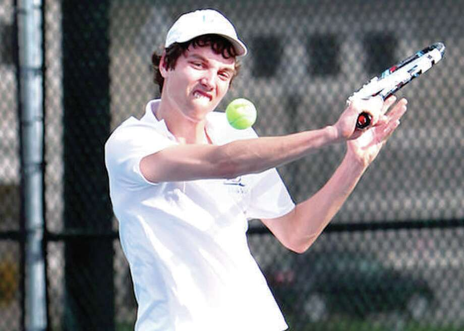 Former LCCC tennis player Adam Ruckman, who now plays at Baker University, served as tournament director of the Alton Closed Tennis Tournament and teamed with Roxana and LCCC's Sarah Kreutztrager to win the Mixed Doubles division. The tourney concluded Sunday. Photo:     Telegraph Photo