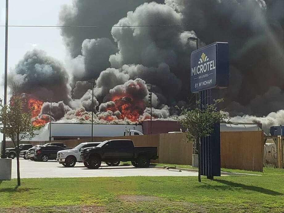 The Karnes County Sheriff's Office reported multiple agencies from across South Texas are battling to put out a large fire in Kenedy that has been burning for hours. Photo: Karnes County Sheriff's Office