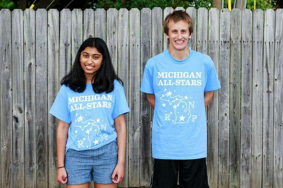 Jashvi Desai of H.H. Dow High School and Kenneth Steinhilber of Midland High School competed in a national math event. (Photo provided)