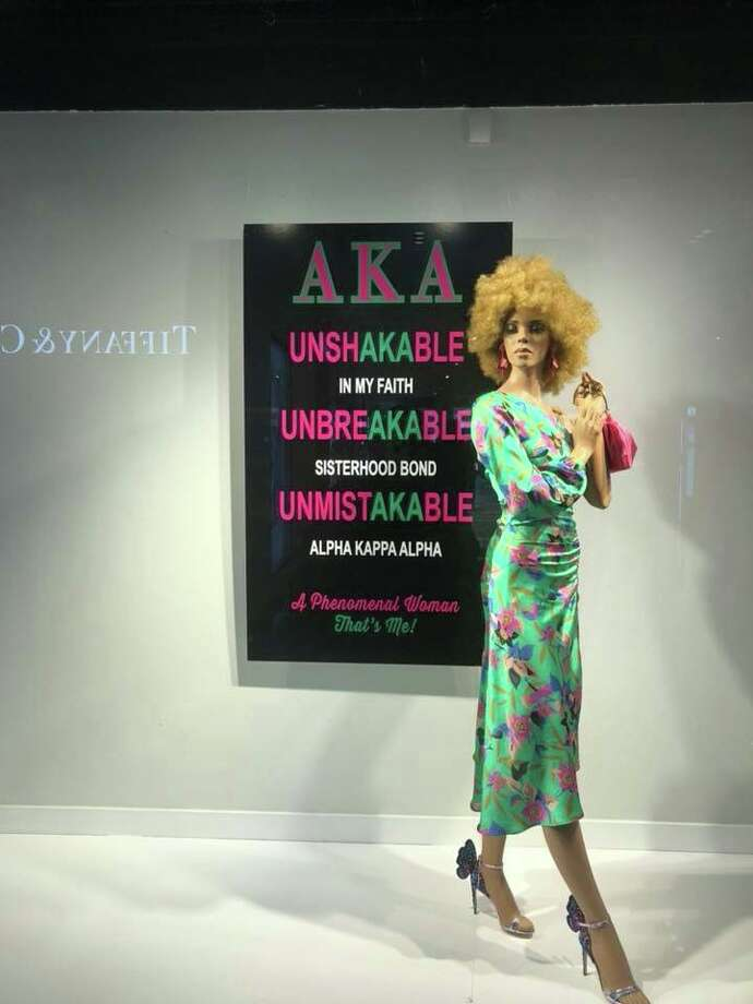A Neiman Marcus Galleria store window to welcomes the Alpha Kappa Alpha sorority, which is holding its national convention here.  Photo: Instagram