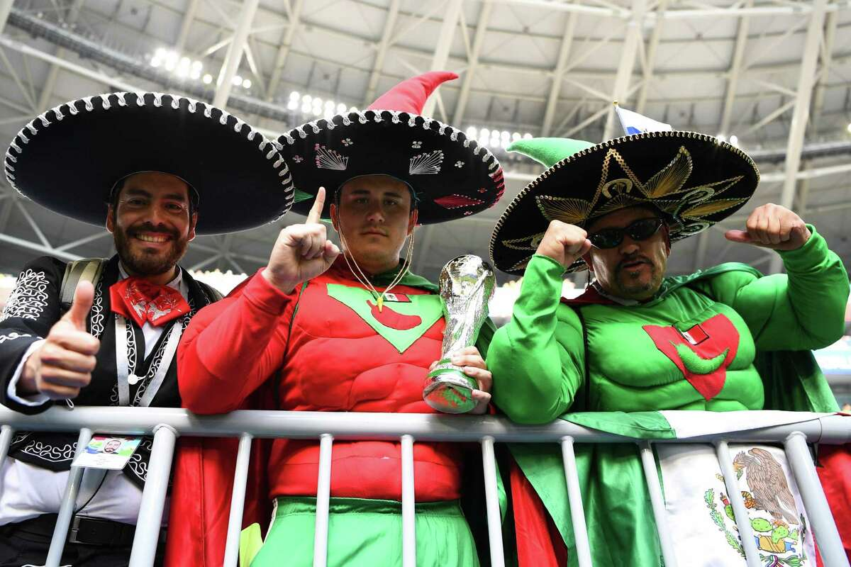 Mexico's fans cheer prior to the Russia 2018 World Cup round of 16 football match between Brazil and Mexico at the Samara Arena in Samara on July 2, 2018. / AFP PHOTO / MANAN VATSYAYANA / RESTRICTED TO EDITORIAL USE - NO MOBILE PUSH ALERTS/DOWNLOADSMANAN VATSYAYANA/AFP/Getty Images
