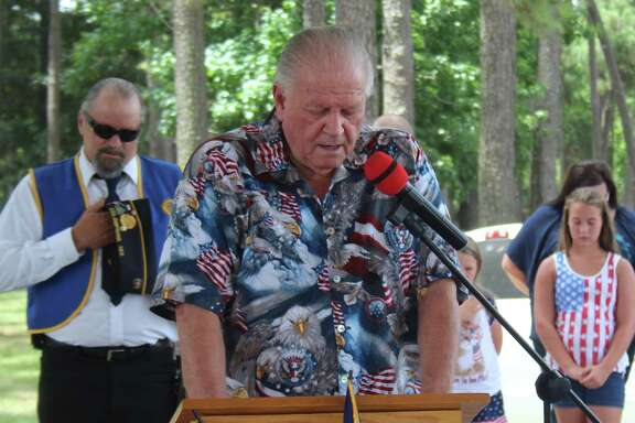 Dale Everitt leads a prayer to begin the Fourth of July Celebration held on June 30 at the Shepherd Community Center pavilion.