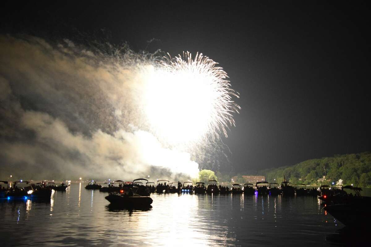Fireworks over Candlewood Lake on Saturday, June 30, 2018.