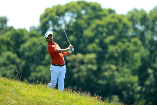 POTOMAC, MD - JULY 01: Andrew Landry plays a shot on the second hole during the final round of the Quicken Loans National at TPC Potomac on July 1, 2018 in Potomac, Maryland. (Photo by Mike Lawrie/Getty Images)