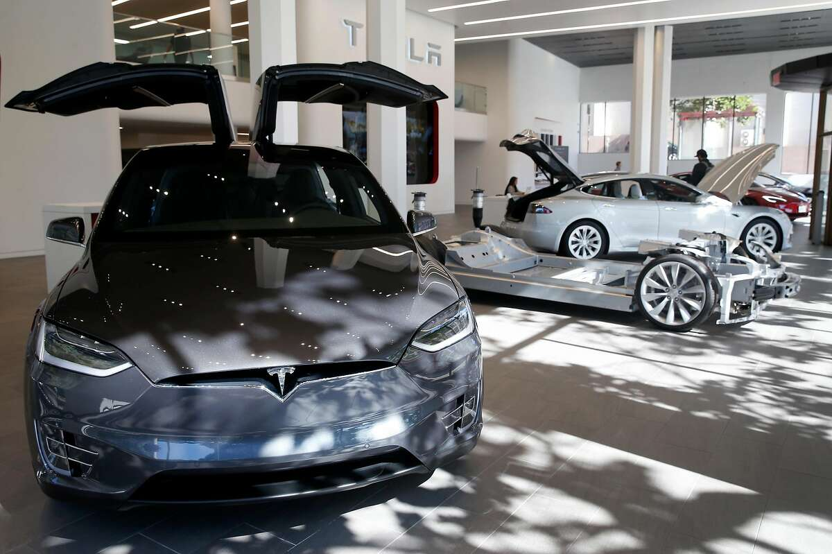 A Model X is displayed at the Tesla store in San Francisco, Calif. on Thursday, June 28, 2018.