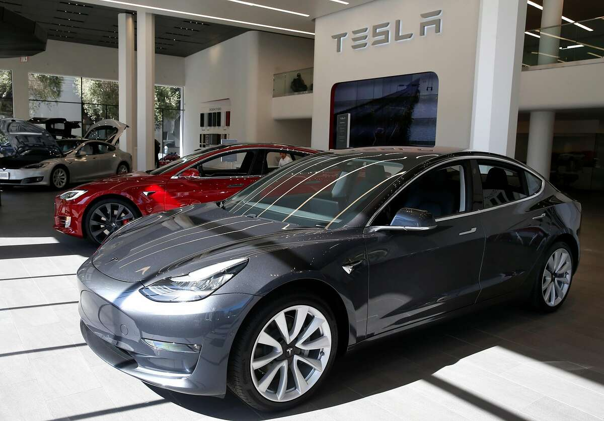 A Model 3 is displayed at the Tesla store in San Francisco, Calif. on Thursday, June 28, 2018.