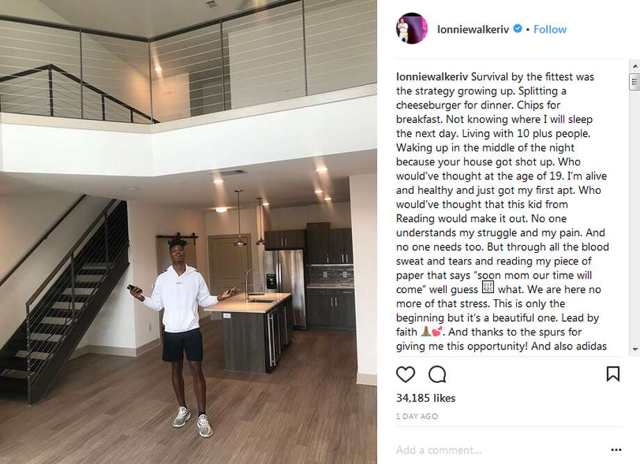 New Spur Lonnie Walker, 19, showed off his modern, two-story digs on Instagram and Twitter. He shared how the space compares to Reading, Pa., where he grew up.