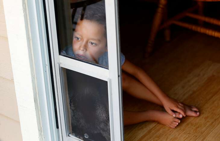 Jordan Beck-Clark, 8, peers through a window into the backyard of his Scotts Valley home on August 8, 2017.