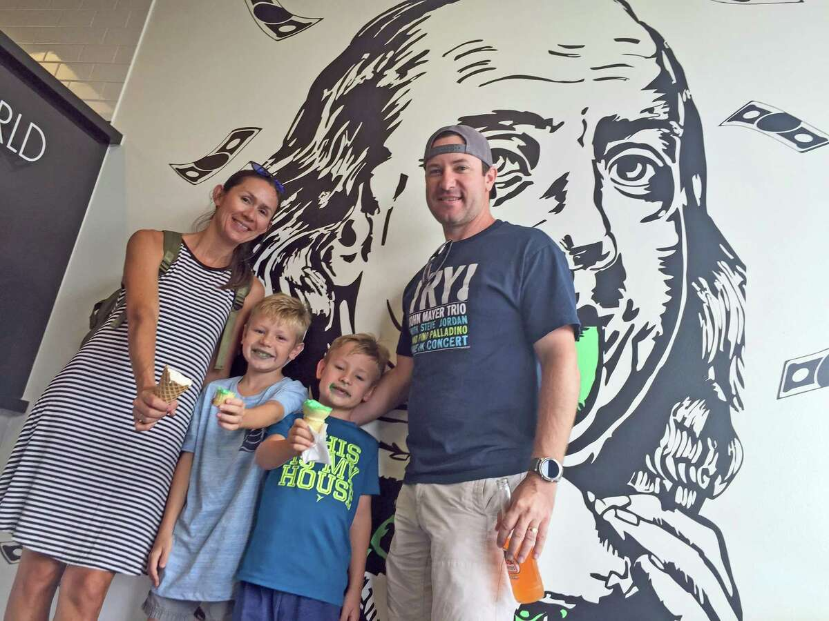 Stacked Ice Cream has attracted a large following among Sugar Land foodies with their unique blend of ice cream, donuts, fruity pebbles and macaroons among other things. Jennifer McBride (left) was spotted there with her sons Reeve and Ryder and husband Jarod (right) recently. She said it was her family?'s first visit to Stacked Ice Cream but doubted it would be their last.