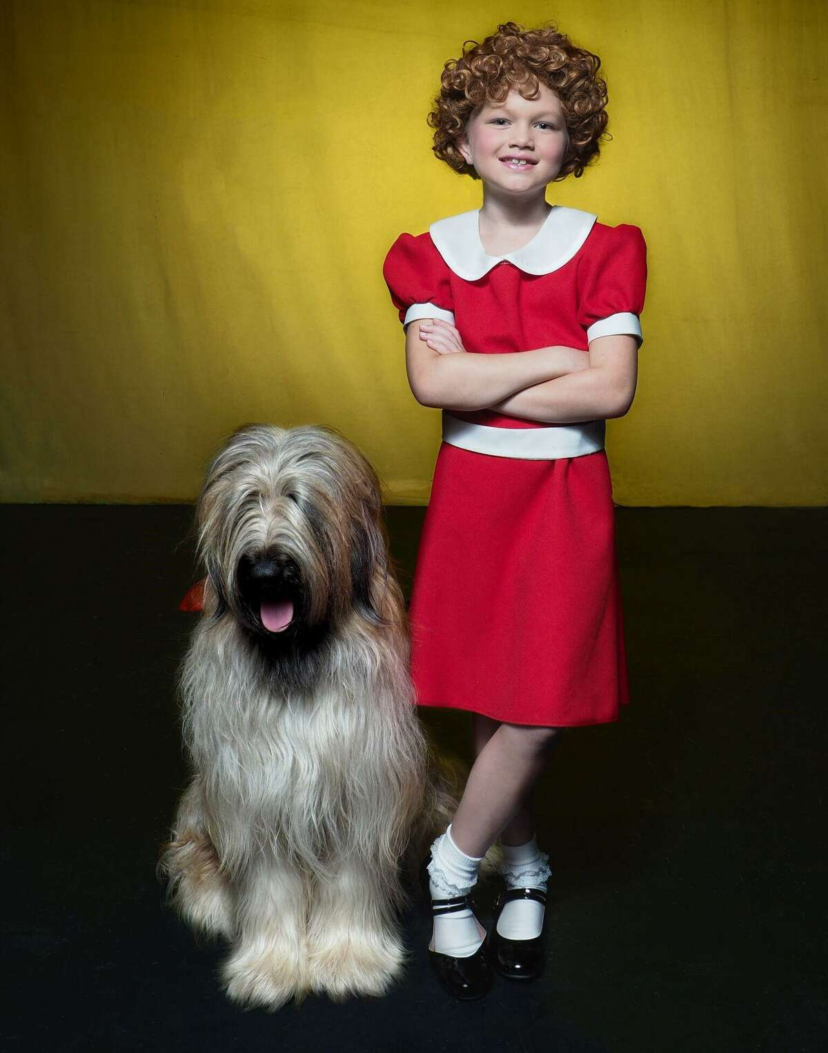 """MaddieKay Harris, as Annie, appears with Maeve, as Sandy, in the musical, """"Annie,"""" onstage at Thomaston Opera House, July 14-29."""