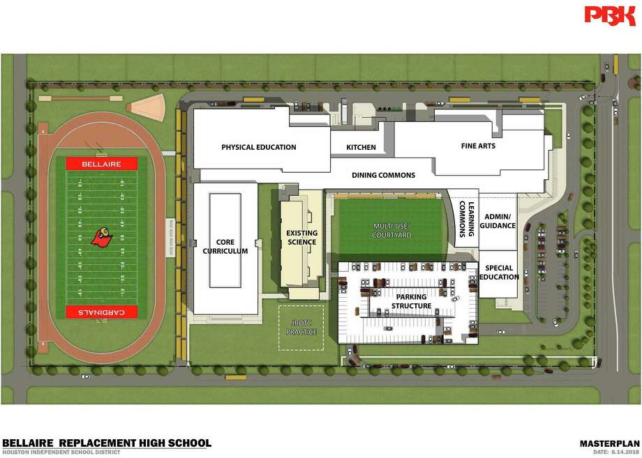 This site plan shows what the new Bellaire High School will look like. Construction is expected to be completed by the end of 2020. Photo: Houston Independent School District