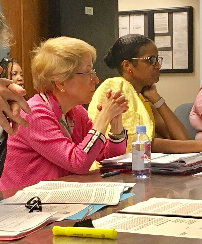 Marlene Siegel, director of finance, and Schools Superintendent Aresta Johnson address the school board. June 20, 2018