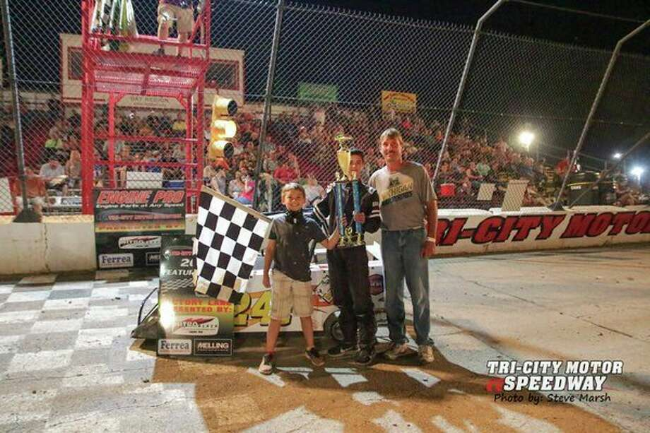 Caden Anderson won theMini-Wedge race for 10-14-year-olds on Friday at Tri-City Motor Speedway. (Photo by Steve Marsh)