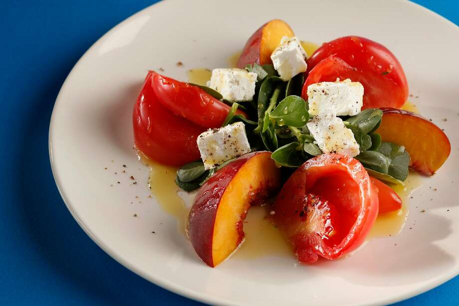 Peach & Tomato Salad (Kokkari chef Erik Cosselmon) as seen in San Francisco, California, on Wednesday, August 10, 2011. Photo: Craig Lee / Special To The Chronicle