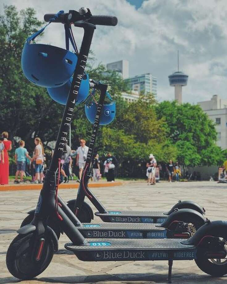 Blue Duck Scooters, an electric scooter company, plans to launch dozens of scooters in San Antonio at the beginning of July 2018. Eventually, the company plans to have about 1,000 of the scooters in San Antonio. The company targets college students and young professionals rather than tourists and visitors. (Courtesy of Blue Duck Scooters) Photo: Courtesy Of Blue Duck Scooters