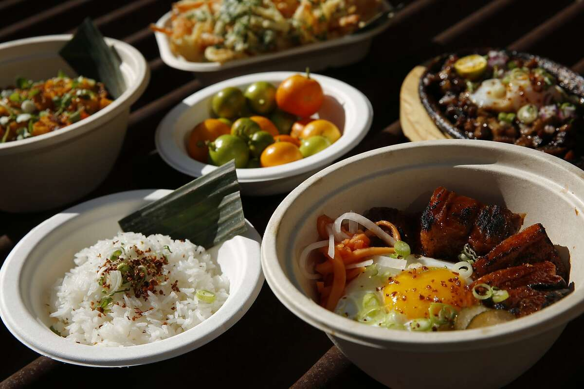 Likha's tocino silog (bottom right) among others at the Hometown Heroes sports bar, Saturday, June 30, 2018, in Emeryville, Calif. The Filipino-American food pop-up Likha is inside the Hometown Heroes sports bar located at 4000 Adeline Street.