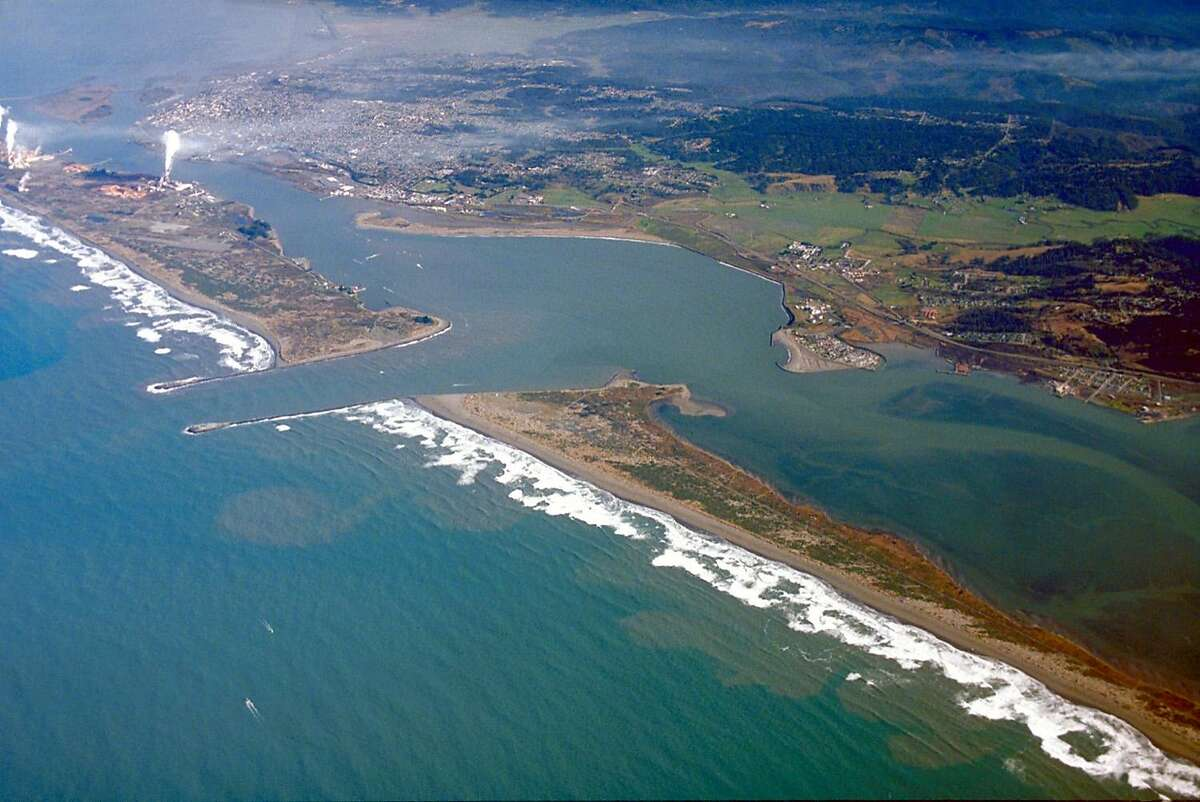 An aerial view of Humboldt Bay, looking northeast.