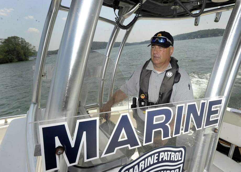 Assistant Chief Ron Barnard of the Candlewood Lake Authority Marine Patrol, out on the lake, Monday, July 2, 2018. Photo: Carol Kaliff / Hearst Connecticut Media / The News-Times