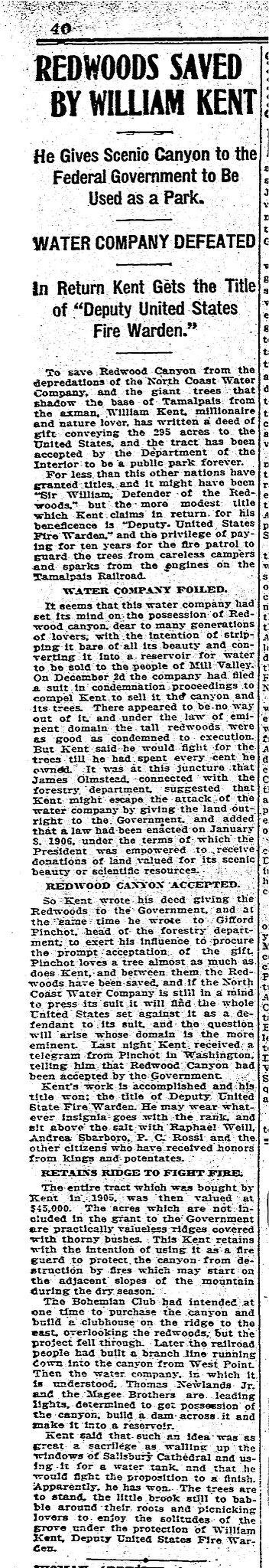 January 5, 1908 Chronicle article on William Kent donating Muir Woods
