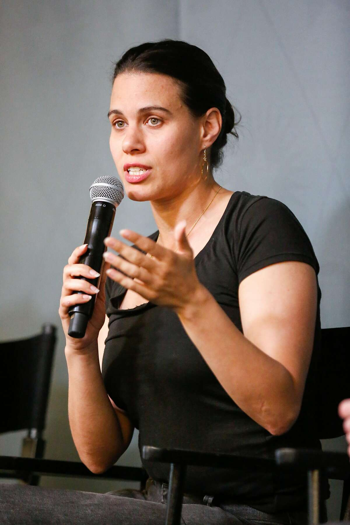 Sonja Trauss, founder SF Bay Area Renters� Federation, speaks during a panel discussion on housing at the Yelp headquarters on Thursday, April 18, 2018 in San Francisco, California.