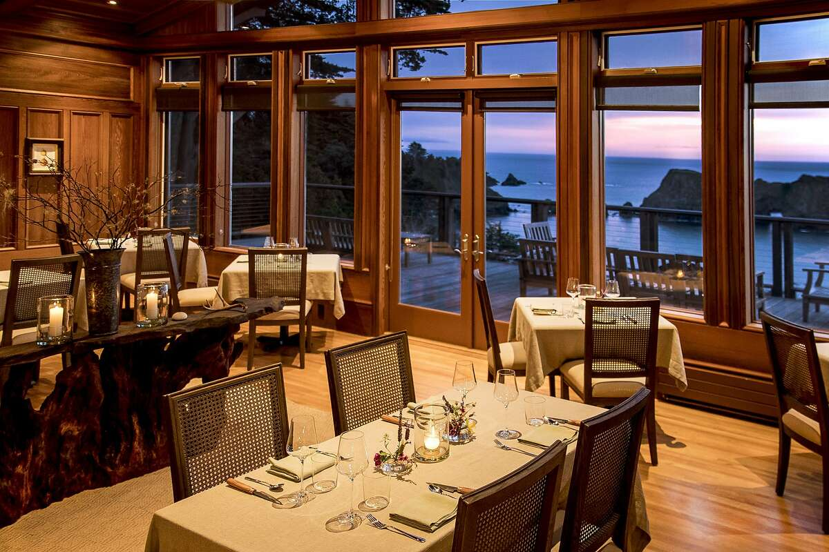 The dining room at the Harbor House Inn in Mendocino.