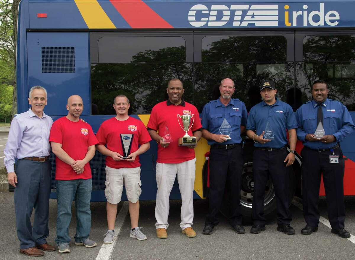 The Capital District Transportation Authority announced the top finishers of the 33rd annual Bus Operator Roadeo cqcompetition at University at Albany. First place: Mark Hichman, Schenectady operator. Second place: John Gonzalez, Schenectady operator. Third place: Reyaad Waxali, Albany operator. Rookie Award: Jarrett Quinones, Schenectady operator. Superintendent Award: Steve Wacksman, superintendent of maintenance. The top three finishers will represent CDTA at the New York State Operator Roadeo held in the fall.