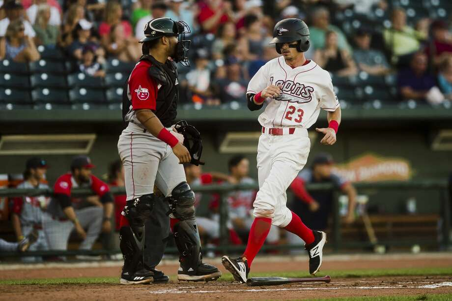 Great Lakes Loons outfielder Josh McLain scores a run during a game against the Ft. Wayne Tincaps on Monday, July 2, 2018 at Dow Diamond. (Katy Kildee/kkildee@mdn.net) Photo: (Katy Kildee/kkildee@mdn.net)
