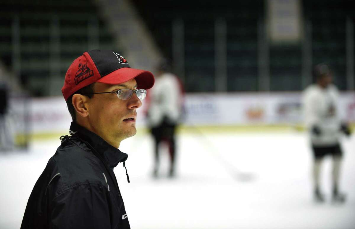 Adirondack Thunder head coach Brad Tapper oversees practice on Thursday, Oct. 26, 2017, at at Cool Insuring Arena in Glens Falls, N.Y. This is Tapper's first season as a head coach in professional hockey after serving as an assistant for seven seasons. (Leif Skodnick/Times Union)