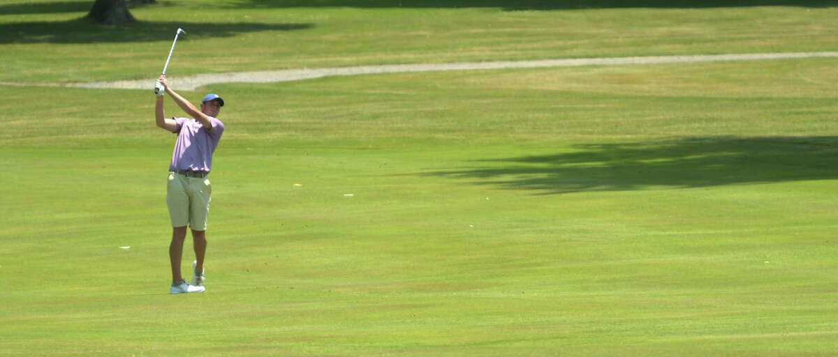 John Downey hits onto the 18th green during the New York State Amateur qualifier at the Colonie Golf and Country Club on Monday, July 2, 2018, in Voorheesville, N.Y. (Paul Buckowski/Times Union)