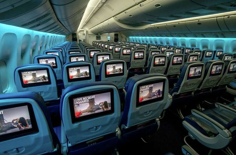 The main cabin on Delta refurbished 777s has nine-across 3-3-3- seating while United & American are 10 across 3-4-3 Photo: Delta