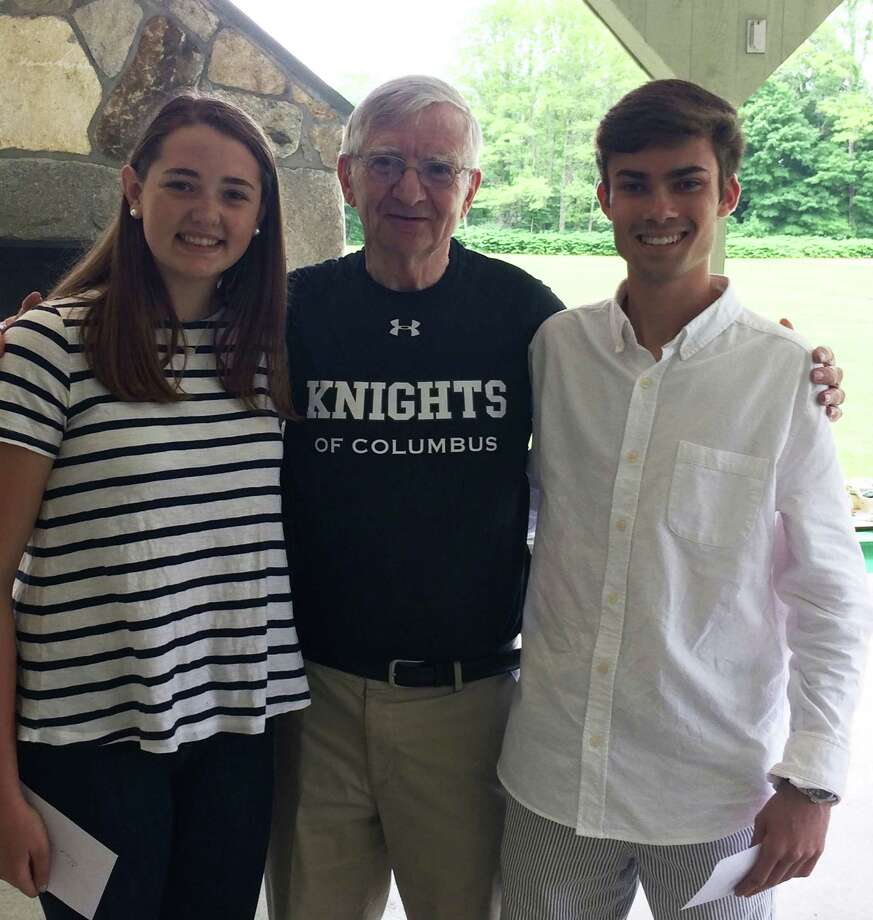 The Knights of Columbus, the Rev. Thomas F. Bennett Council No. 14318 Washington Depot has announced the recipients of its scholarship for students entering college this fall. Scholarship Chairman David DeWitt made the announcement at the OLPH parish picnic June 10. Recipients are Olivia Moore, left, and Alexander Michalek, right, who are shown above with DeWitt. Olivia, a graduate of Shepaug Valley School in Washington, will attend Western Connecticut State University, where she will major in health promotion studies. She is the daughter of Sandra and Daniel Moore of New Preston. Alexander, a graduate of New Milford High School, will attend Sacred Heart University to pursue a career in marketing. He is the song of Sharon and Gregory Michalek of New Milford. Photo: Courtesy Of Knights Of Columbus / The News-Times Contributed