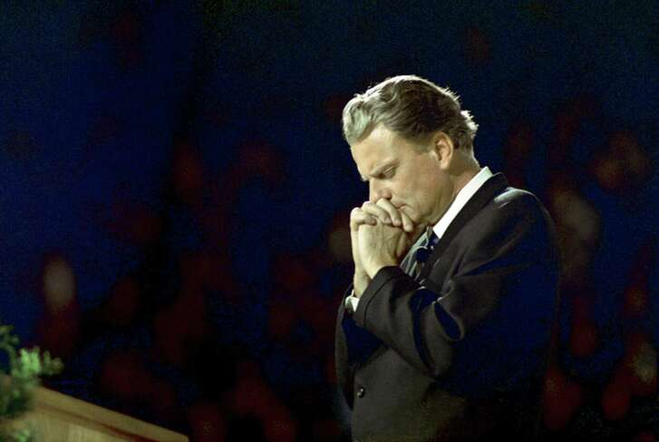 """""""Many times I have been driven to prayer,"""" Billy Graham once said. """"When I was in Bible school I didn't know what to do with my life. I used to walk the streets…and pray, sometimes for hours at a time. In His timing, God answered those prayers, and since then prayer has been an essential part of my life."""" (photo: Pittsburg, 1968)"""