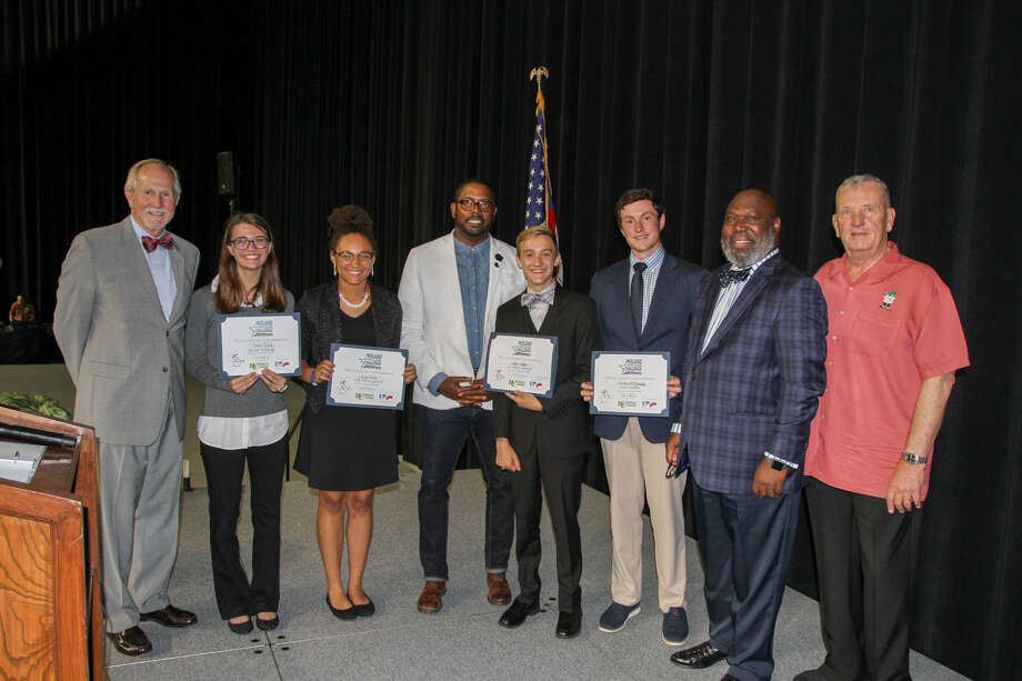 Scholarship winners pose with participants of the recent Midland Young Leaders Challenge: MC President Steve Thomas, from left, Claire Keck, Jocelyn Bent, MISD Superintendent Orlando Riddick, Miles Baker, Chesley McDonald, Michael Williams and Gen. Tommy Franks.