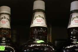 Bottles of Jim Beam Bourban on the shelf of a liquor store in Florham Park, New Jersey, on Jan. 26, 2007.