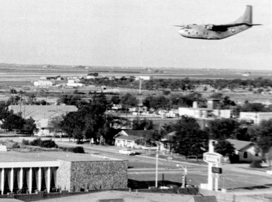 A new phase in the city's war against mosquitoes in general and specifically against the Western encephalitis-carrying Culex tarsalis mosquito began June 15, 1967, with a low-level aerial test application of malathion from this U.S. Air Force C123 Photo: Herald File Photo