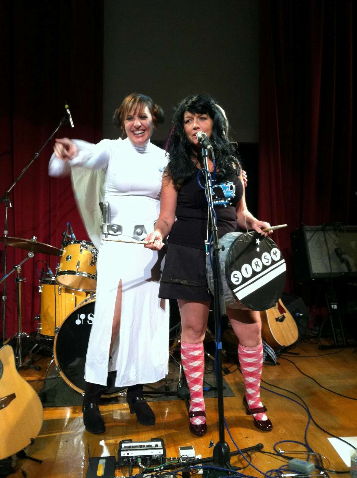 Erin Harkes, dressed as Melanie Krahmer of Sirsy, and Melanie, dressed as Princess Leia from Star Wars, at a Halloween show in 2011. (Photo provided)
