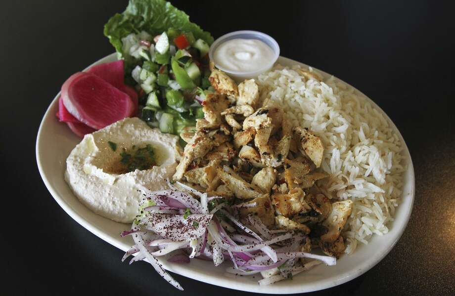The chicken shawarma plate is served at Jerusalem Grill. Photo: Tom Reel /San Antonio Express-News