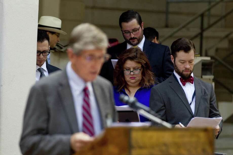 Members of the Montgomery County Criminal Defense Lawyers Association gathered for the organization's annual reading of reads of the Declaration of Independence on July 3, 2018, in Conroe. Photo: Jason Fochtman, Staff Photographer / Houston Chronicle / © 2018 Houston Chronicle