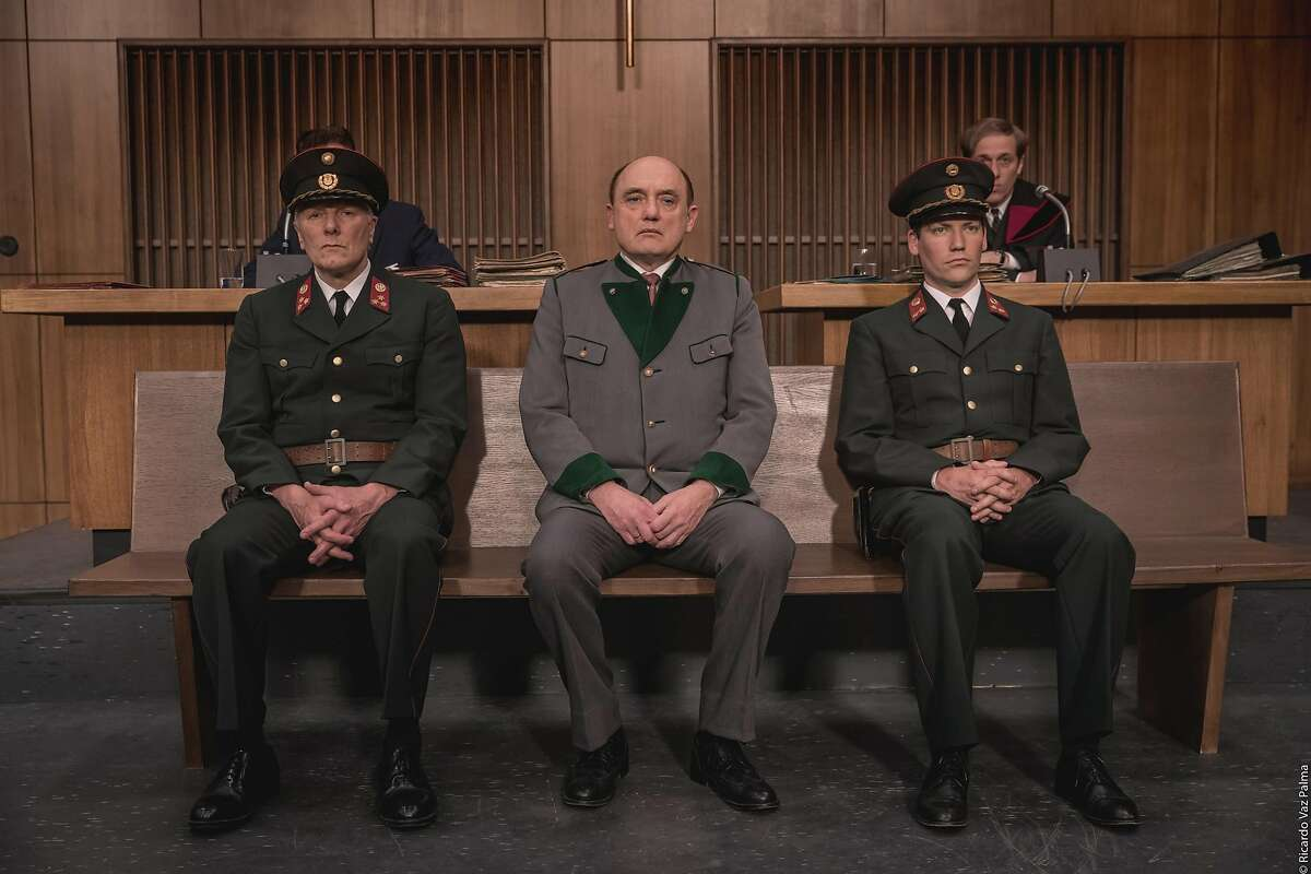 """Actor Karl Fischer (center) as Austrian ex-Nazi """"the Butcher of Vilnius,"""" in a still from """"Murer - Anatomy of a Trial,"""" which will be shown at the 38th San Francisco Jewish Film Festival."""