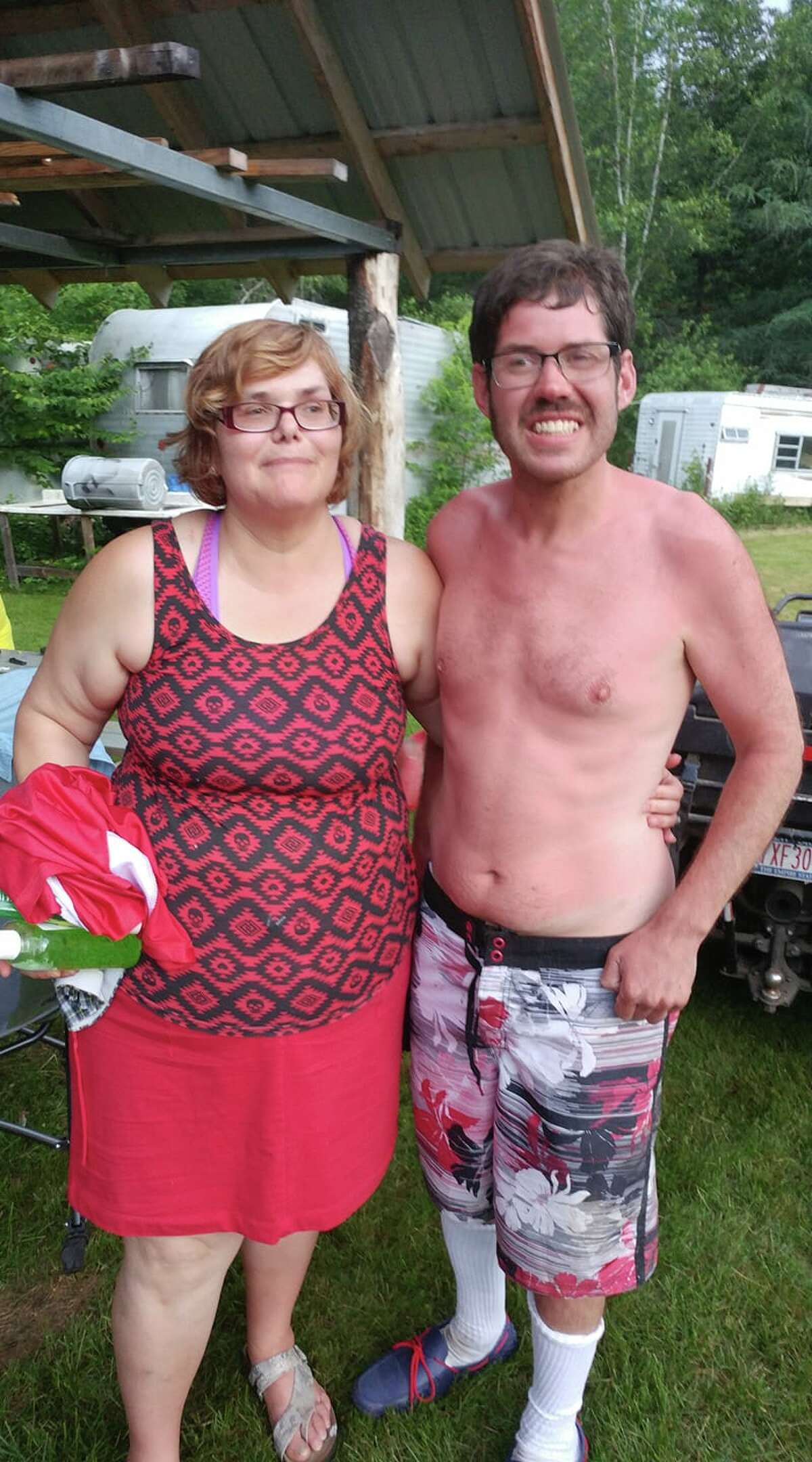 Janet Williams poses with her son, Bruce, a 29-year-old with autism spectrum disorder, shortly after he was rescued Monday, July 2, 2018 on Chase Lake in the town of Bleecker. Williams used the skills he learned in the Boy Scouts to stay safe and calm during the two days he was stranded in the wilderness of Fulton County.