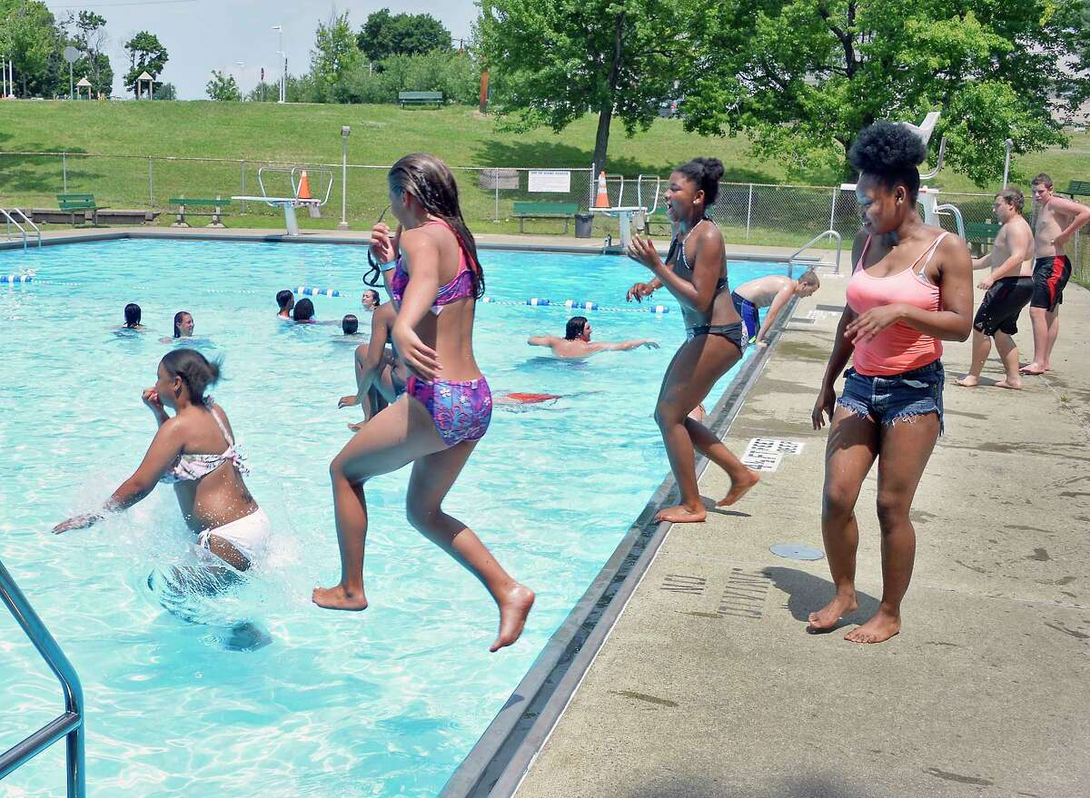 Kids at the Lansing Park Pool just after opening Tuesday July 3, 2018 in Cohoes, NY. (John Carl D'Annibale/Times Union)