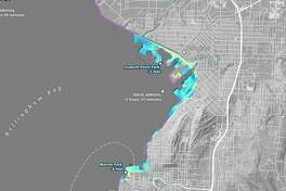 Map shows areas in blue where tsunami waves would be several feet deep around the Bellingham waterfront in a worst-case scenario of a Cascadia Subduction Zone Quake.