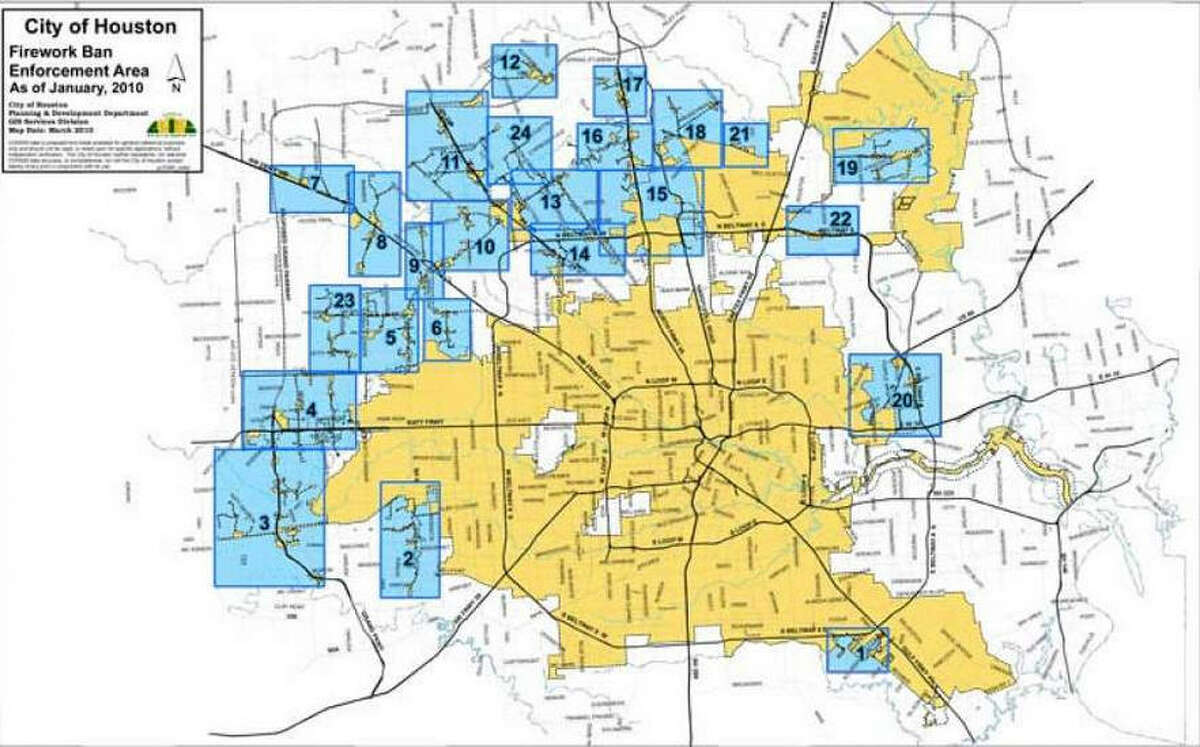 This is a map of where fireworks are banned in Harris County. The areas shaded in yellow do not allow fireworks usage. The blue areas allow it but local restrictions may apply.