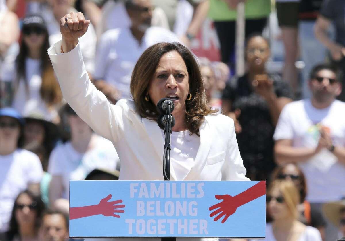 U.S. Senator for California Kamala Harris speaks at the